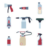 Home pest control expert exterminator service flat icons set with rat and cockroach abstract isolated vector Royalty Free Stock Photos