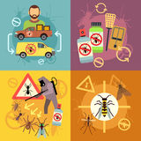 Home pest control service flat concepts set Royalty Free Stock Photography