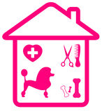 Home pet services symbol with poodle and grooming. Home pet services symbol with poodle, grooming, veterinary and bone silhouette stock illustration