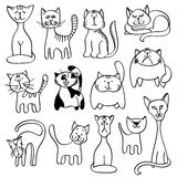 Home pets, cute cats in doodle vector style Royalty Free Stock Photo