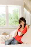At Home On Phone Royalty Free Stock Images