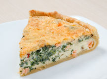 Home pie with verdure and salmon. Tasty home pie with verdure and salmon Stock Image