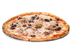 Home pizza with sausage and eggplant. Closeup Stock Photography
