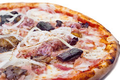 Home pizza with sausage and eggplant. Closeup .Shallow depth-of-field Stock Images