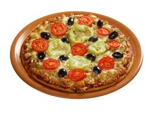 .home pizza with tomato and eggplant Stock Images