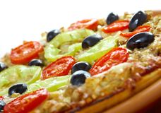 .home pizza with tomato and eggplant Royalty Free Stock Photography