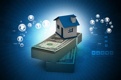 Home placed on the tope of dollar notes. In color background Royalty Free Stock Image