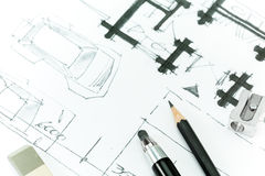 Home plan. Drawing with pencil. Royalty Free Stock Image