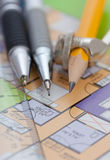 Home plan & Drawing Tools Royalty Free Stock Image