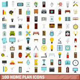 100 home plan icons set, flat style. 100 home plan icons set in flat style for any design vector illustration Stock Images