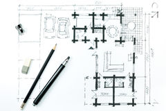 Home plan sketch and drawing tools Royalty Free Stock Photo