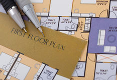Home Plan & Text Royalty Free Stock Images