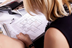 Home plan in work Royalty Free Stock Photography