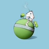 Home Planet. Little home planet with house, garden and street Stock Photography