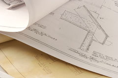 Home plans. Architectural renderings of a new home construction Royalty Free Stock Image