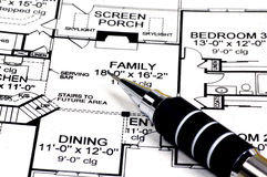 Home Plans and Pencil. Residential House Plans and a Drafting Pencil Stock Photos