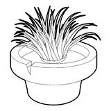 Home plant icon, outline style Stock Photo