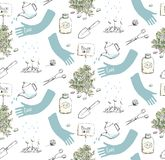 Home Plants or Gardening Seamless Pattern Royalty Free Stock Photos