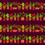 Home plants seamless pattern line Stock Image