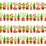 Home plants seamless pattern line white Stock Photo
