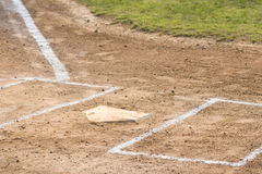 Home Plate. Horizontal image of home plate on a baseball field Stock Image
