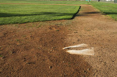 Home plate. An old and cracked home plate at a little league baseball field in Norco,CA Stock Photography
