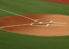 Home plate. Photo of home plate, batter's box, and base lines Royalty Free Stock Image