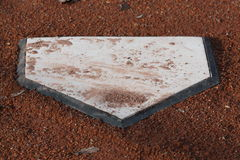 Home Plate. Dirt covered home plate used in baseball games Stock Image