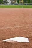 Home plate at a baseball diamond Royalty Free Stock Image