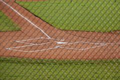 Home Plate on a Baseball Field. Horizontal photograph of home plate and batter& x27;s boxes on a baseball field Royalty Free Stock Photos