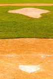 Home plate polygon, pitchers mound and second base Stock Images