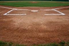 home platta för baseballfält Arkivfoto