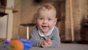 Home portrait of happy baby girl stock footage