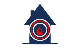 Home Protection from fire. Logo Design Template Vector Royalty Free Stock Photos