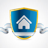 Home protection illustrated with shield Stock Photo