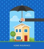 Home protection plan concept. Vector illustration in flat design. Hand holding umbrella to protect house from rain Royalty Free Stock Image