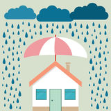 Home protection plan concept. Vector illustration in flat design. Umbrella protect house from sun Royalty Free Stock Images