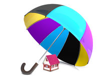 Home and protective umbrella. Stock Photography