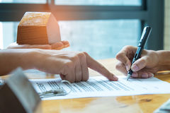 Home purchase agreement. Stock Images
