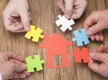 Home purchase with the help of family nucleus.  stock images
