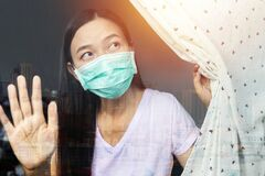 Home quarantine concept. woman at risk of being infected with the Coronavirus stay isolation at home for self quarantine