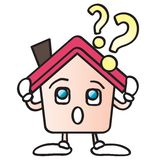 Home question mark cartoon Stock Photo