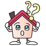 Home question mark cartoon Stock Photo