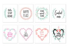 Home quotes, wall art prints, vector set stock illustration