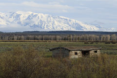Home on the Range. Cunningham Cabin sits isolated on the range with the snow covered Grand Teton mountains loomingin the distance Stock Photo
