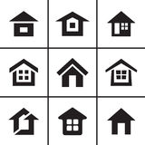 Home real estate icons set Stock Photos