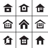 Home real estate icons set Stock Photos
