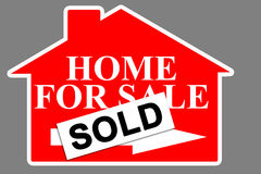 Home real estate sale. Red real estate house for sale sign with SOLD tag