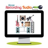 Home Recording Studio on Computer. Screen - Vector Illustration Stock Images