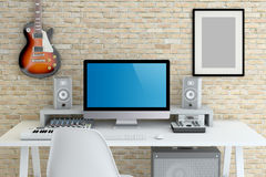 Home Recording Studio. Interior 3D Rendering Stock Images